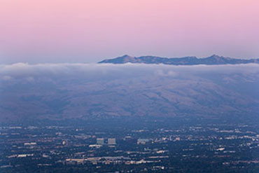 An evening sunset overlooking the Silicon Valley and Sunnyvale, California.